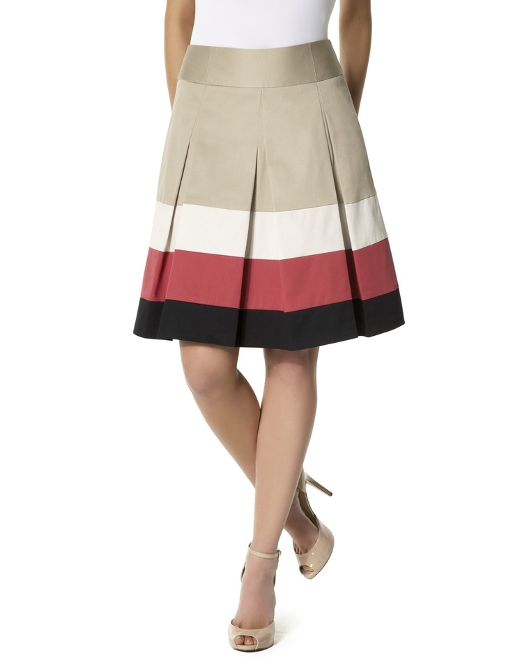 Muted colorblock skirt.