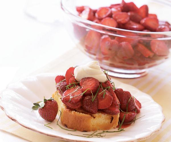 Balsamic-Macerated Strawberries with Basil | Recipe