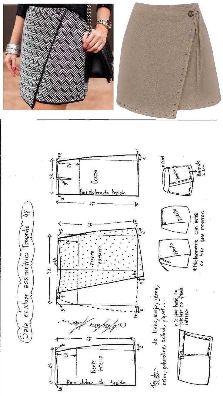 Saia Envelope Assimétrica. Publicado em 01/08/2016 por marleneglaumar2002 em costura e acabamento, modelagem. Saia envelope