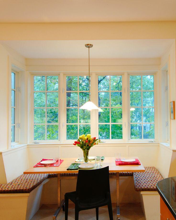 Breakfast nook by bay window kitchen pinterest for Bay window breakfast nook