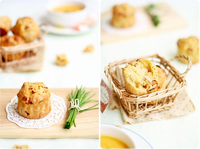 bacon cheddar chive muffins | Snacks | Pinterest