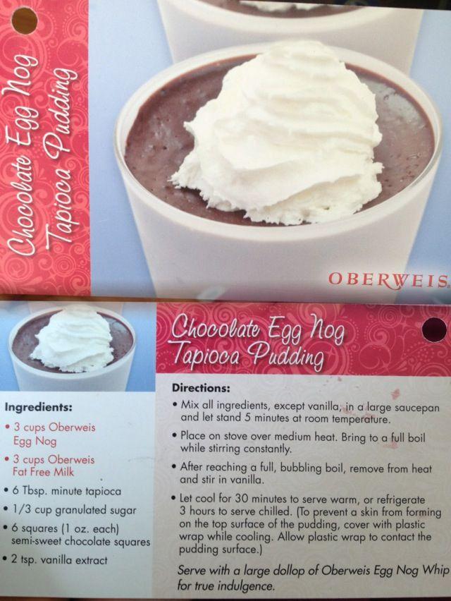 Chocolate Egg Nog Tapioca Pudding Oberweis recipe card #Christmas
