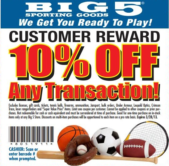 Big 5 Sporting Goods: 10% off Printable Coupon
