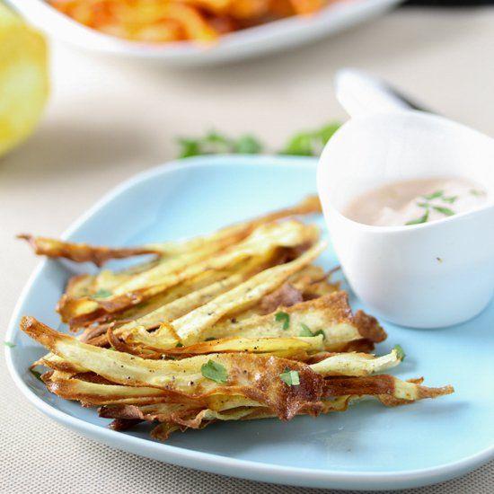 Cumin-Spiced Carrot & Parsnip Chips with Spicy Harissa Yogurt Dip.