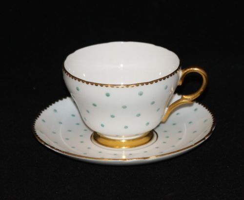 Shelley england fine bone china 13497 turquoise polka dot for Gold polka dot china