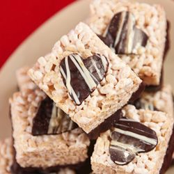 bourbon caramel rice krispies treats with dark chocolate hearts