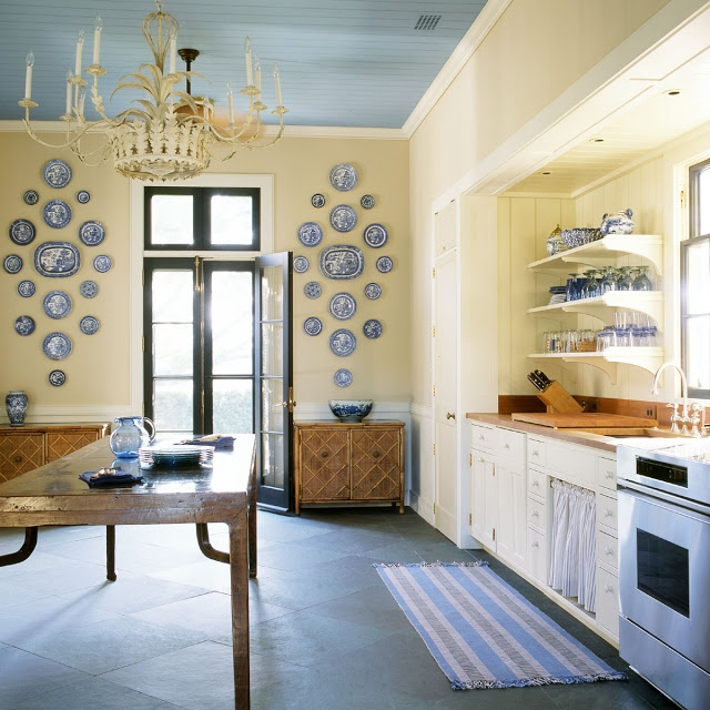 Blue ceiling Blue and white kitchen  Interior Design  Pinterest