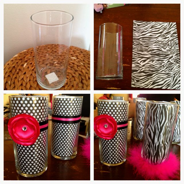 Very cute! They're dollar store vases the inside lined w/ scrap book paper then embellished. Fill with your choice of filling (flowers,tissue paper, candy) u can even put a picture in between the paper & glass to personalize them a little more:)