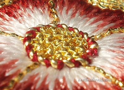 Goldwork Tudor Rose - center close-up