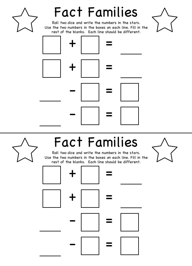 fact families worksheets – Multiplication Fact Family Worksheet