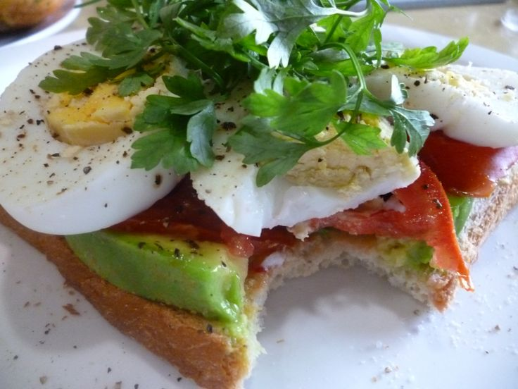 Post work out breakfast egg, avocado and tomato sandwich.