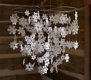 paper snowflakes (use a bicycle rim)