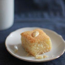 Eggless semolina & coconut cake, drenched in rosewater-scented syrup ...