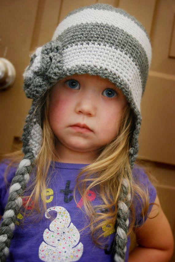Crochet Pattern - Striped Flap Hat - EASY - kid size - PDF ...