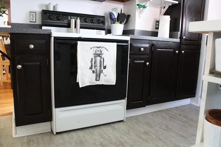 kitchen cabinets dark stained  New Apt Kitchen  Pinterest