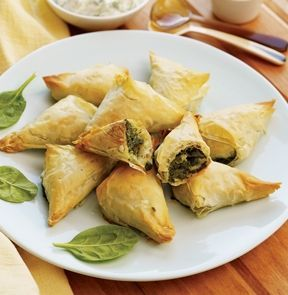 ... phyllo triangles stuffed with spinach, ricotta and feta. 12 pieces. #