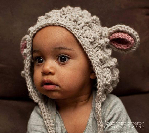 Crochet Pattern For Baby Lamb Hat : EASY CROCHET PATTERN: Bumpy Little Lamb Hat (Many sizes)