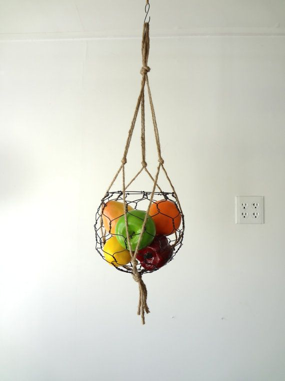 Hanging Wire Fruit Or Vegetable Basket With Macrame Hanger