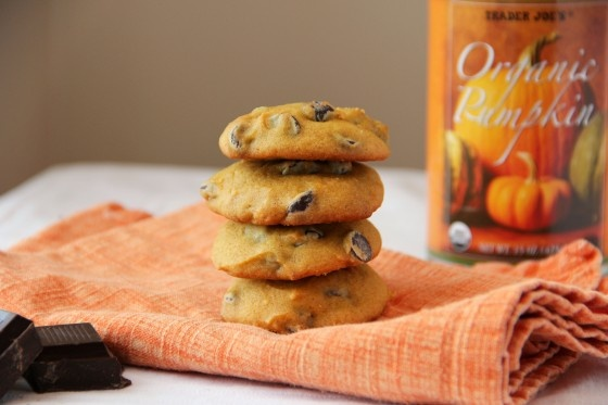Super Soft Pumpkin Dark Chocolate Chip Cookies (sub'd 1/2 cup sugar ...
