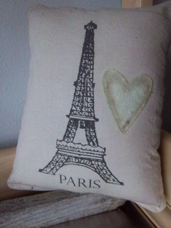 Handmade Shabby Chic Pillows : Shabby chic Paris pillow handmade neutral organic cotton french count?