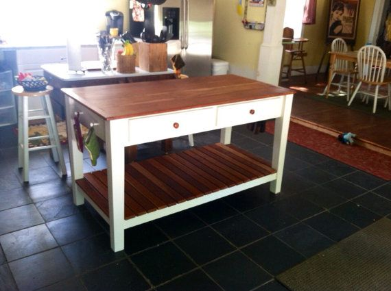 cherry top kitchen island prep table with drawers by tablesbytitus