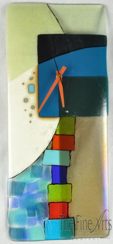 andrea art glass wall clock fused glass pinterest