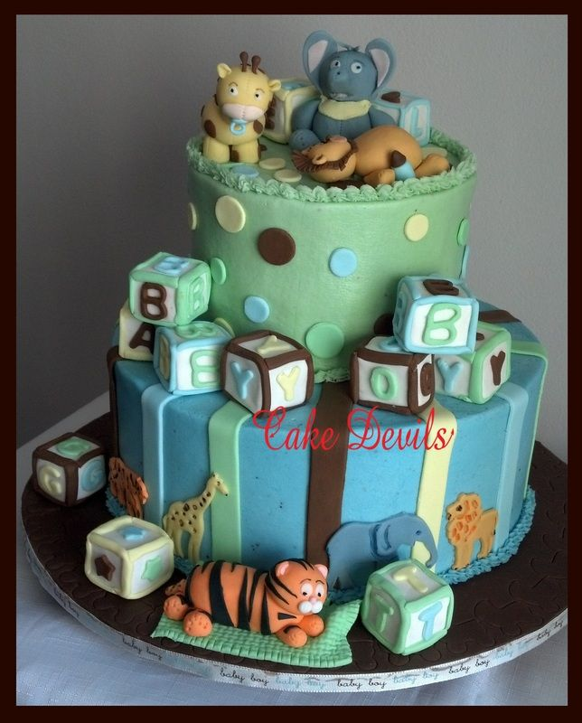 blocks baby shower cake