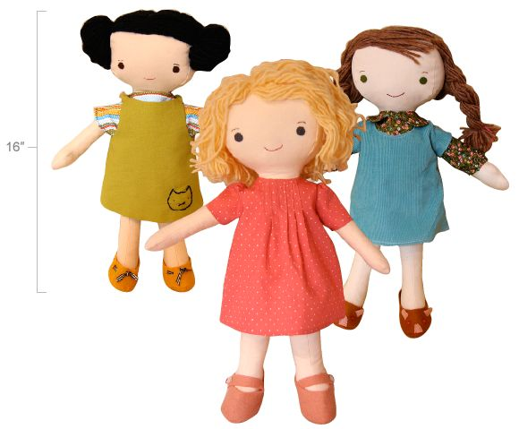 """Complete full-size patterns and easy-to-follow instructions for three 16"""" dolls, 4 outfits and a pair of shoes. Also included—detailed yarn hair instructions. 24 pages."""