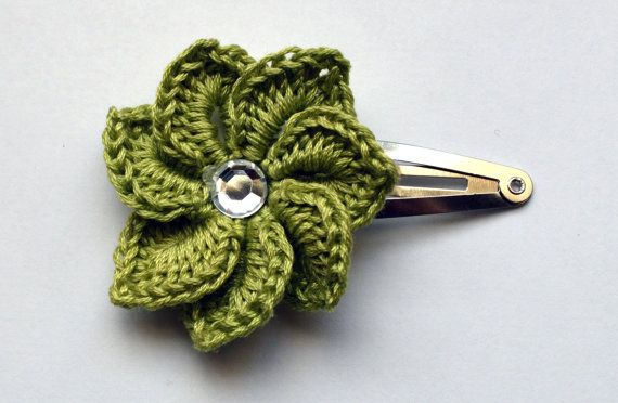 Crochet Hair Spirals : Spiral Crochet Flower Hair Clip Baby Toddler Hair