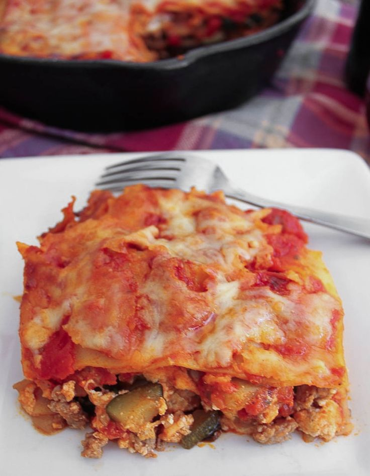 Skillet Lasagna with Turkey Sausage and Vegetables. A lighter spin on ...