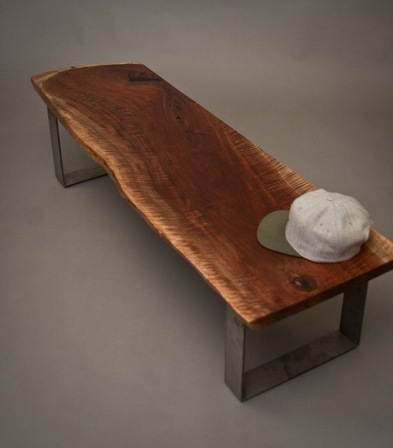 Figured Live Edge Black Walnut Bench Modern Simple Solid