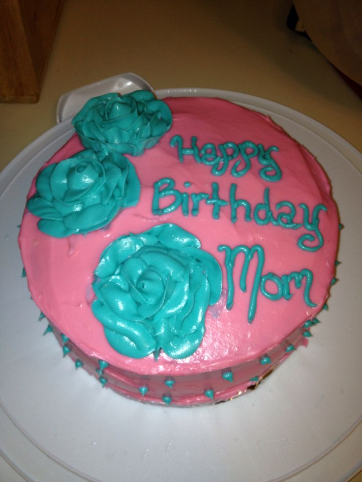Pink and blue birthday cake  I did it! - Pinterest success  Pintere ...