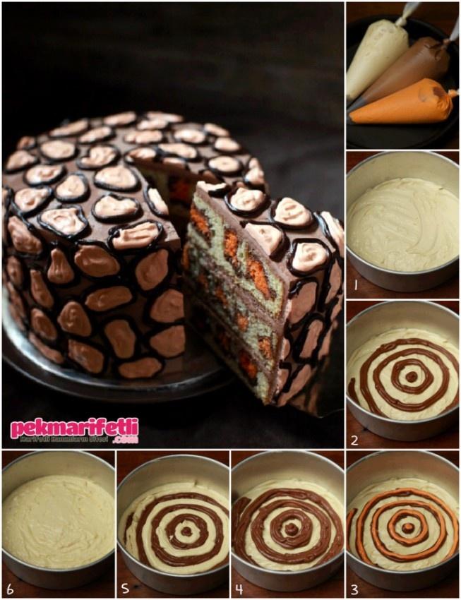 İçi leopar desenli pasta nasıl yapılırmışş?