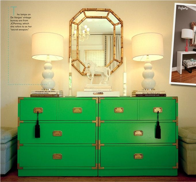 Green bureau with black tassels, via Lonny Magazine