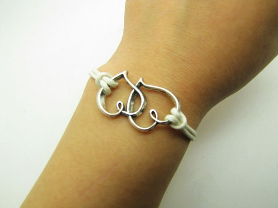 White Rope Steampunk Bracelet Heart to Heart by sevenvsxiao, $1.89