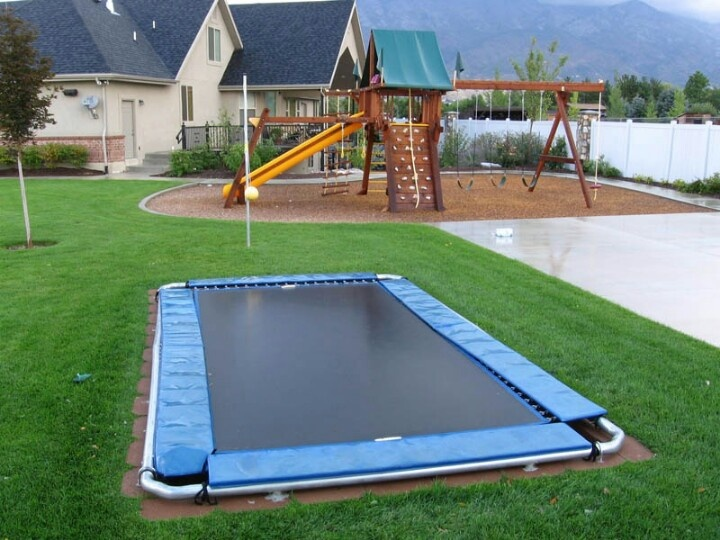 In ground trampoline yard pinterest for How to put a trampoline in the ground