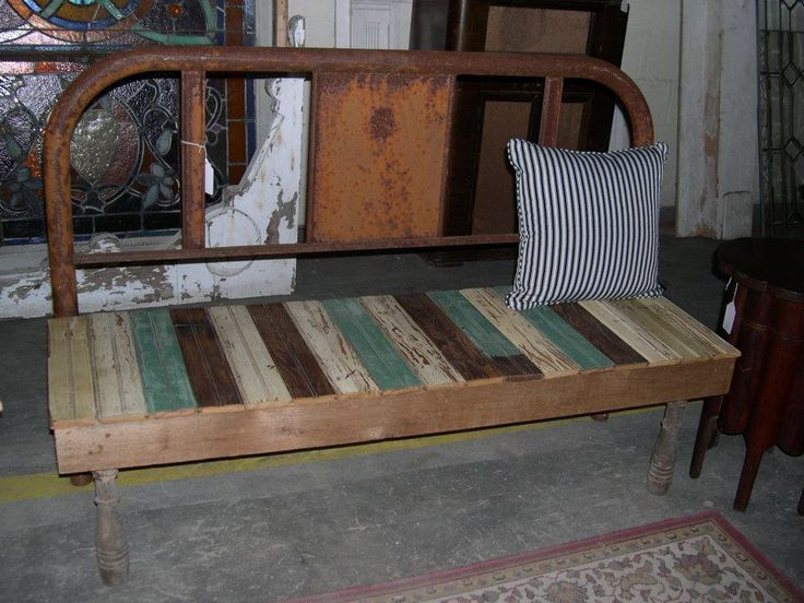 Wooden Bench From A Metal Frame Bed Bed Frame Benches Pinterest
