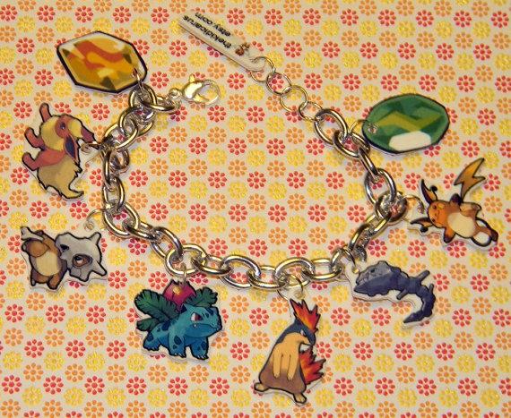 CUSTOM POKEMON TEAM charm bracelet by thekidicarus on Etsy, $15.00