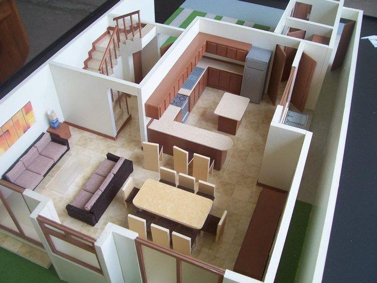 Muebles para maqueta maquetas pinterest for Casa minimalista maqueta