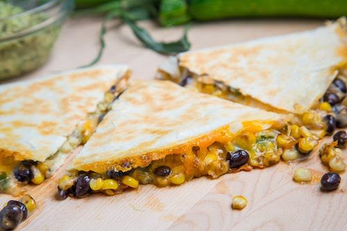 Caramelized Corn and Black Bean Quesadillas with Roast Zucchini Salsa ...