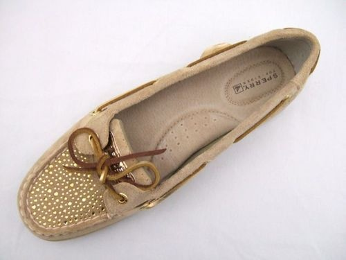 Sperry Topsider Womens Shoes New Angelfish Sand Suede Rhinestones 9 M