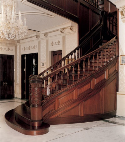 Best Custom Mahogany Stair With Bowed Risers Stairs Pinterest 400 x 300