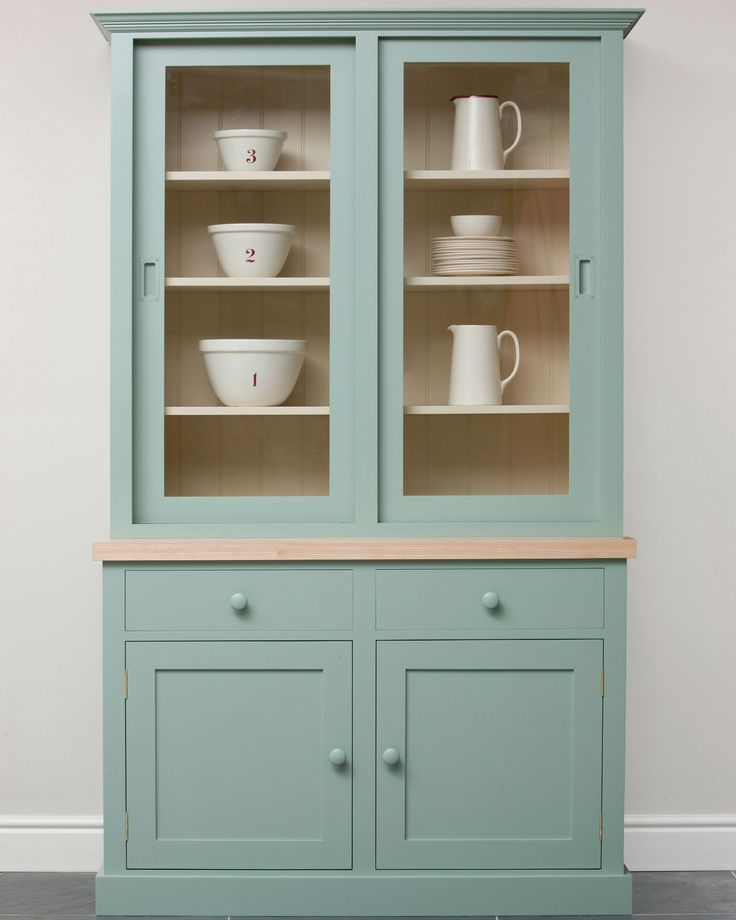 Painted Dresser With Glass Doors