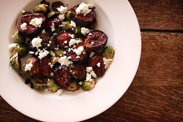 Balsamic Roasted Figs and Brussel Sprouts with Goat Cheese