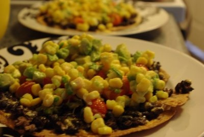 Black-Bean Tostadas with Corn Relish. The Martha via All Things Fancy