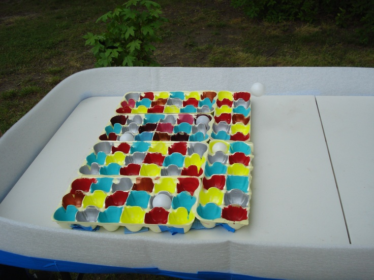 Ball toss egg cartons we painted carnival party ideas pinterest
