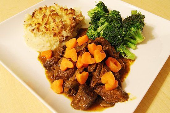 Julia Child's Beef Bourguignone with carrot hearts :)