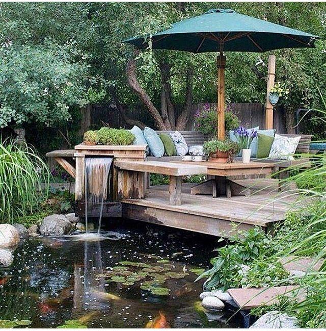 Koi pond small backyard oasis pinterest for Small backyard koi pond ideas