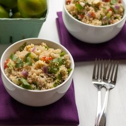 Quick & healthy quinoa with cherry tomatoes, fresh cucumber and ripe ...