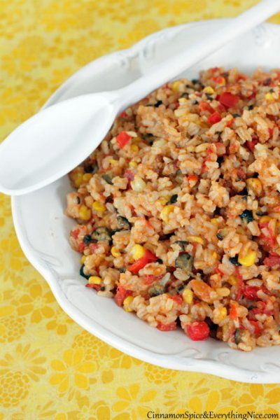 Tex-Mex Rice: Skillet Tex-Mex rice with black olives, red bell peppers ...